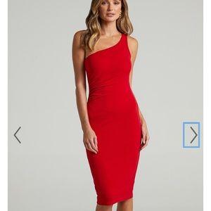 1 shoulder red dress